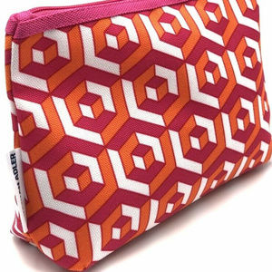 Clinique Orange Pink Cosmetic Travel Bag Purse